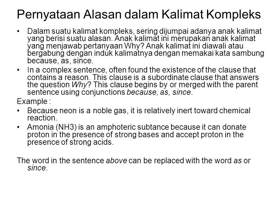 Pernyataan Alasan dalam Kalimat Kompleks