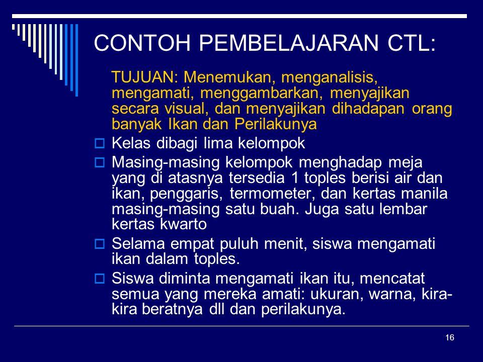 CONTOH PEMBELAJARAN CTL:
