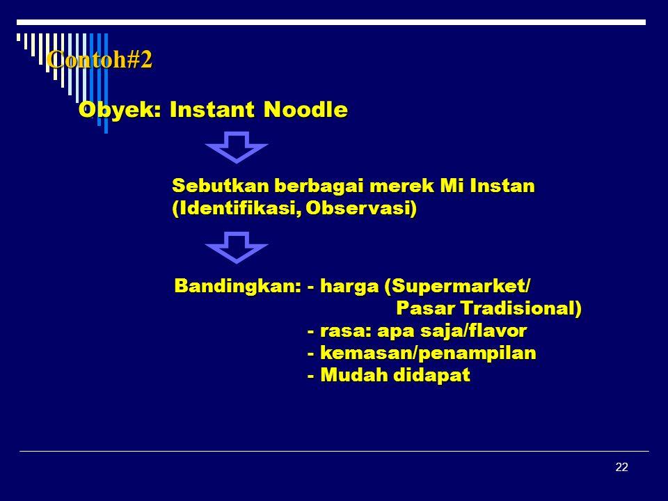 Contoh#2 Obyek: Instant Noodle Sebutkan berbagai merek Mi Instan