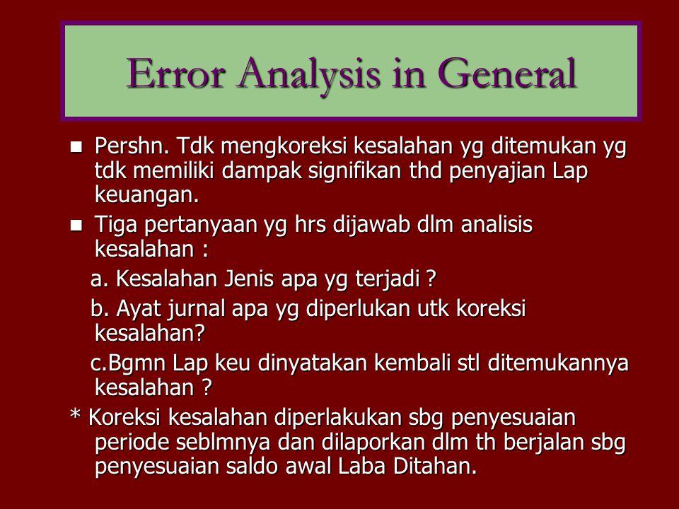 Error Analysis in General