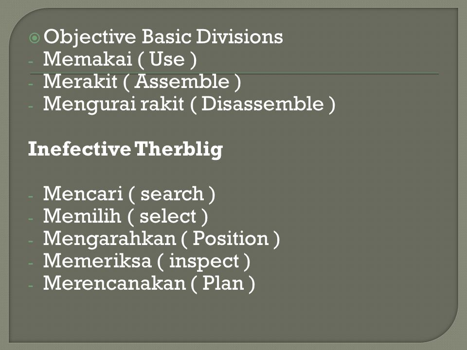 Objective Basic Divisions