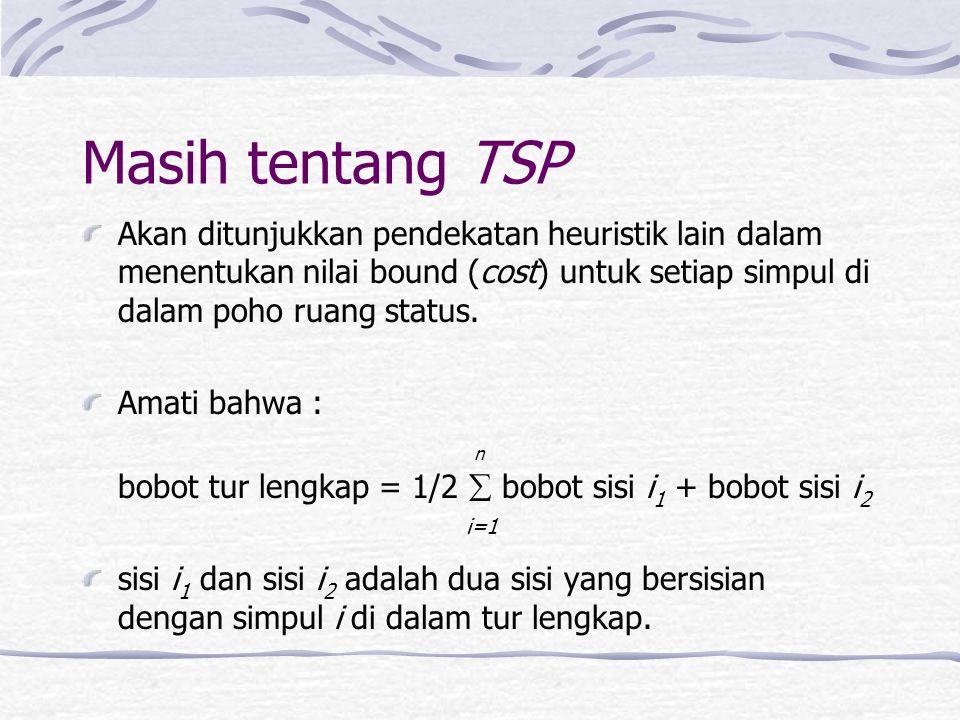 Masih tentang TSP Akan ditunjukkan pendekatan heuristik lain dalam menentukan nilai bound (cost) untuk setiap simpul di dalam poho ruang status.