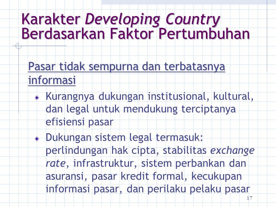 Karakter Developing Country Berdasarkan Faktor Pertumbuhan