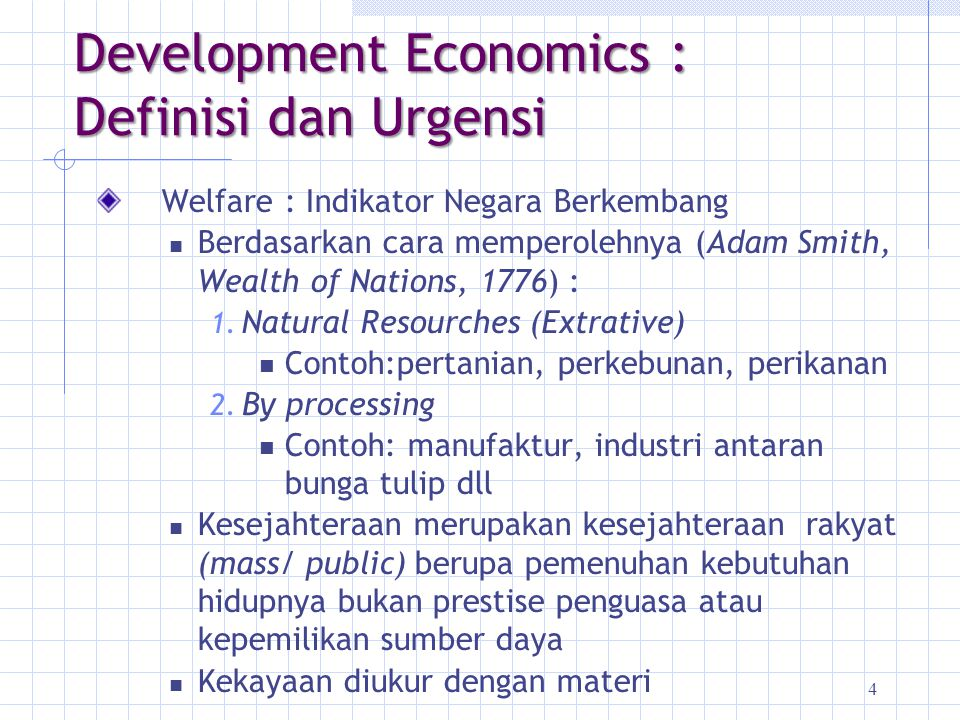 Development Economics : Definisi dan Urgensi