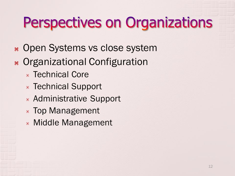 Perspectives on Organizations