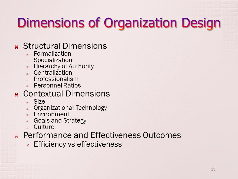 Dimensions of Organization Design