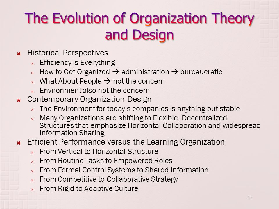 The Evolution of Organization Theory and Design