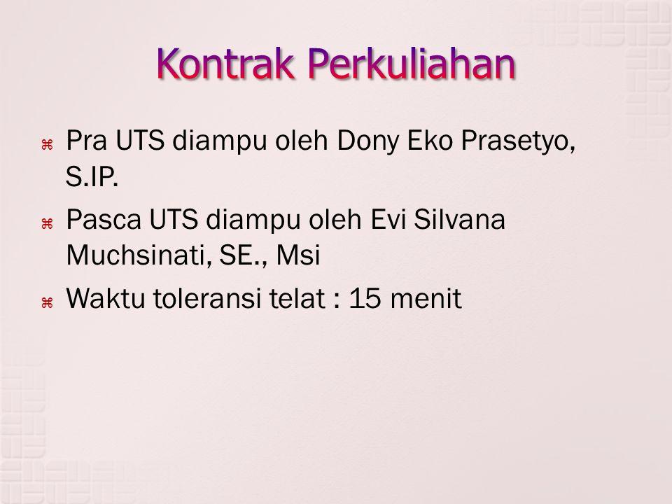 Kontrak Perkuliahan Pra UTS diampu oleh Dony Eko Prasetyo, S.IP.