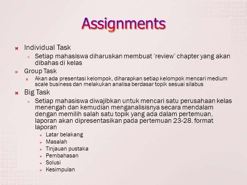 Assignments Individual Task Big Task