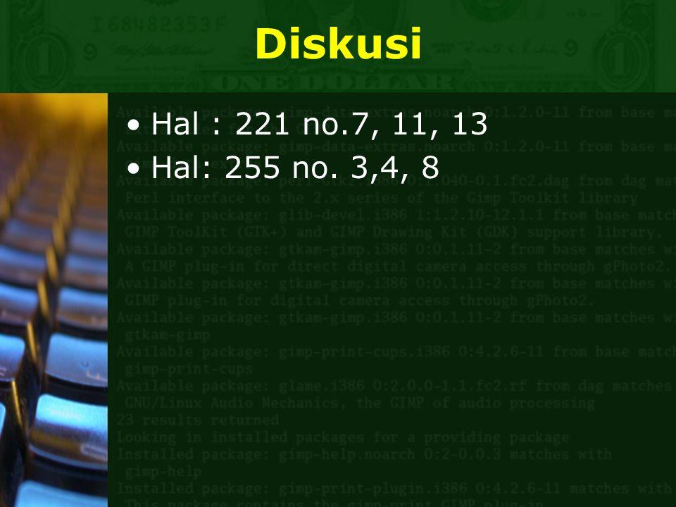 Diskusi Hal : 221 no.7, 11, 13 Hal: 255 no. 3,4, 8