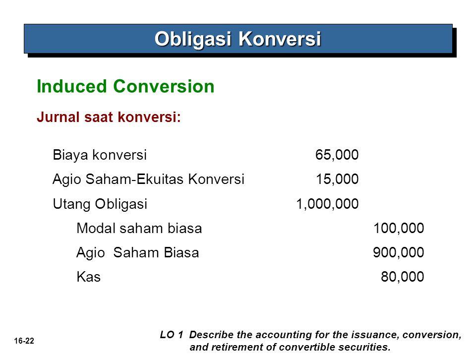 Obligasi Konversi Induced Conversion Jurnal saat konversi: