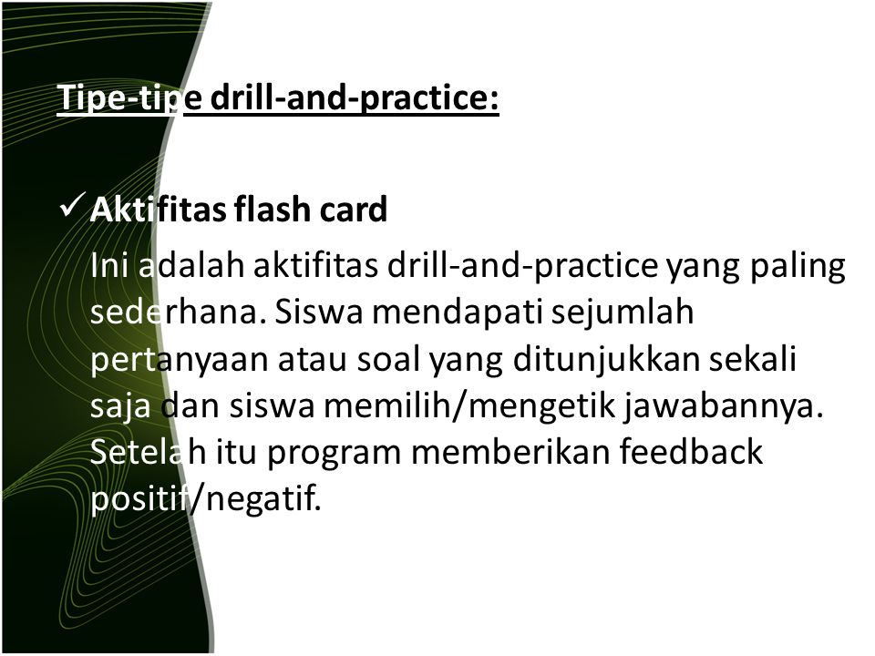 Tipe-tipe drill-and-practice: