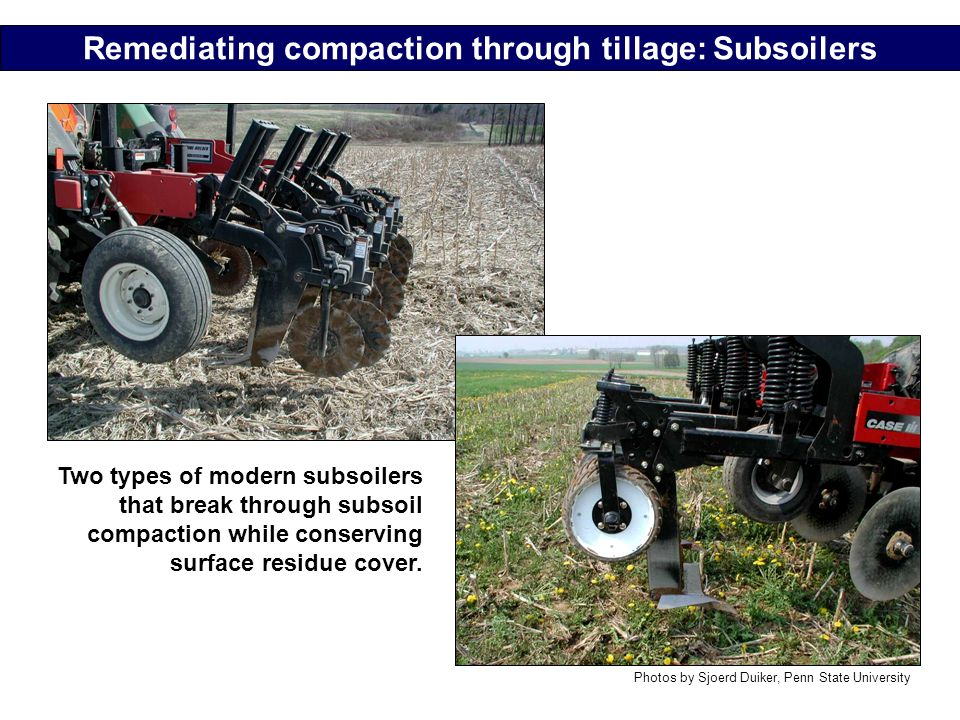 Remediating compaction through tillage: Subsoilers