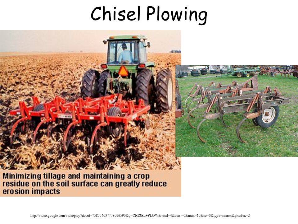 Chisel Plowing http://video.google.com/videoplay docid=758554037778096590&q=CHISEL+PLOW&total=4&start=0&num=10&so=0&type=search&plindex=2.