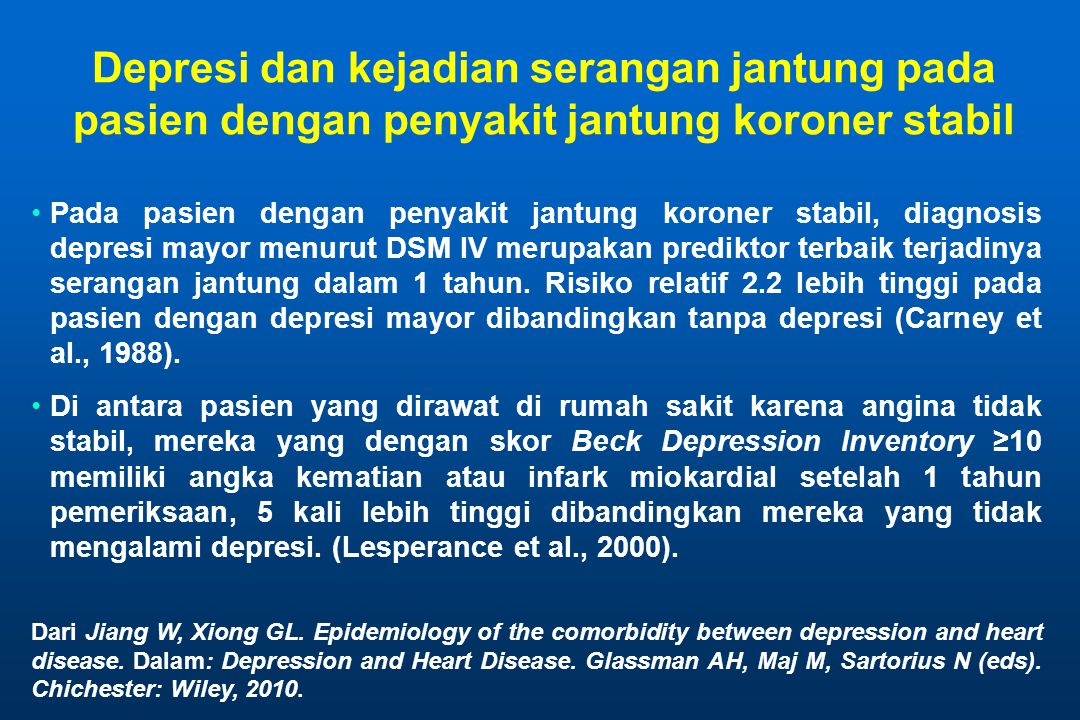 Depresi dan kejadian serangan jantung pada pasien dengan penyakit jantung koroner stabil