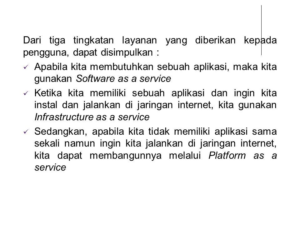 Dari tiga tingkatan layanan yang diberikan kepada pengguna, dapat disimpulkan :