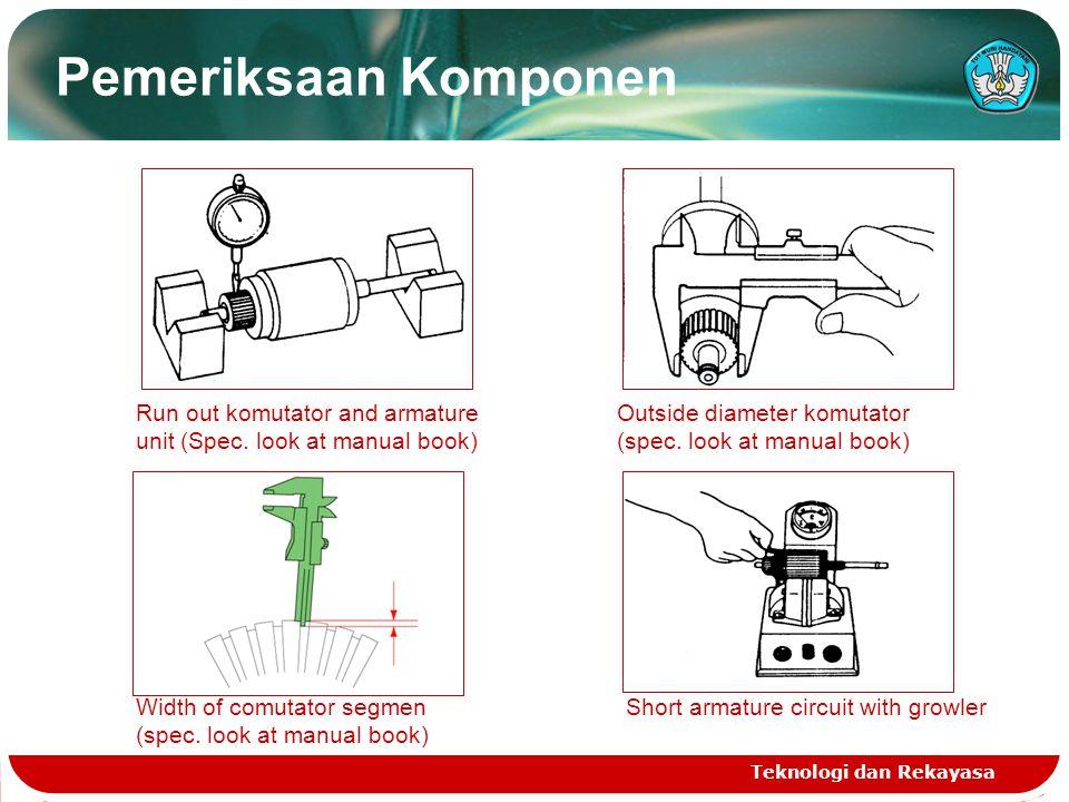 Pemeriksaan Komponen Run out komutator and armature unit (Spec. look at manual book) Outside diameter komutator.