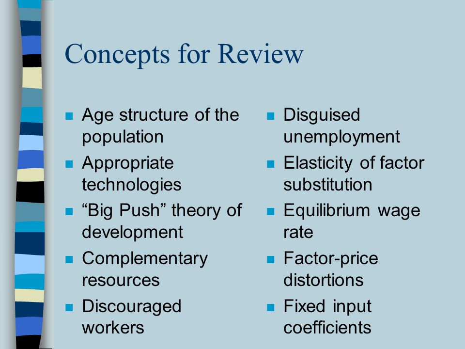 Concepts for Review Age structure of the population
