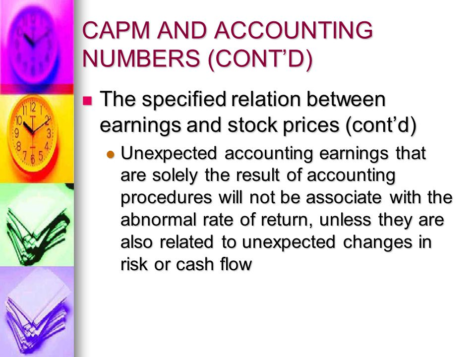 CAPM AND ACCOUNTING NUMBERS (CONT'D)