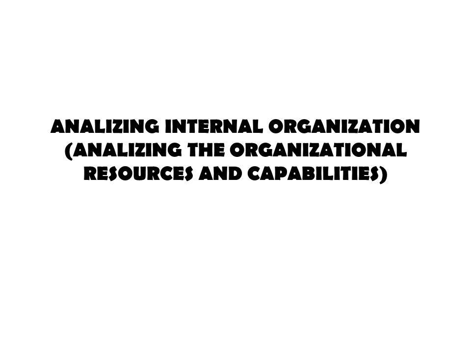 ANALIZING INTERNAL ORGANIZATION (ANALIZING THE ORGANIZATIONAL RESOURCES AND CAPABILITIES)