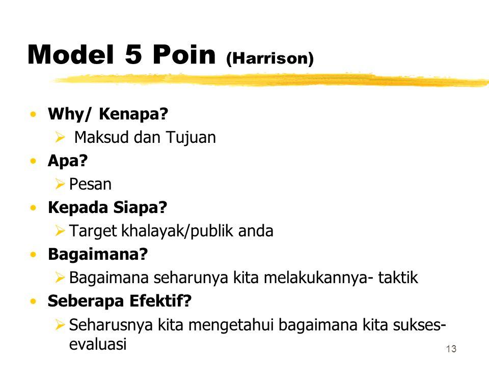Model 5 Poin (Harrison) Why/ Kenapa Maksud dan Tujuan Apa Pesan