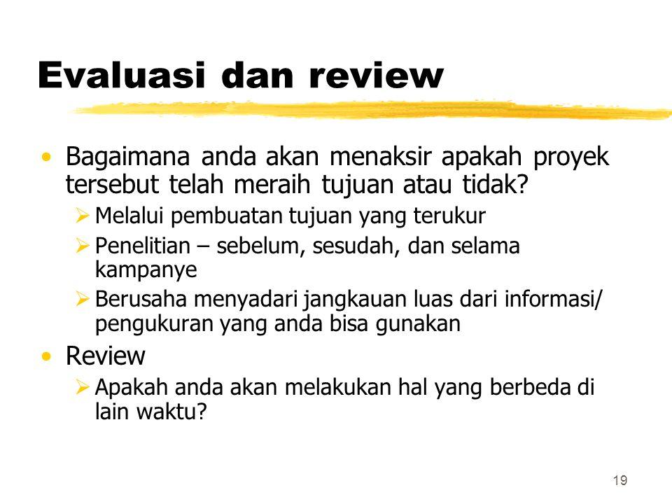 Evaluasi dan review Bagaimana anda akan menaksir apakah proyek tersebut telah meraih tujuan atau tidak