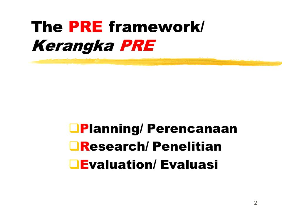 The PRE framework/ Kerangka PRE