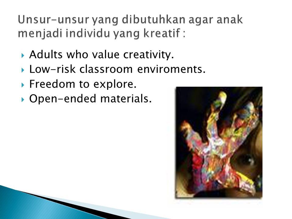 Unsur-unsur yang dibutuhkan agar anak menjadi individu yang kreatif :