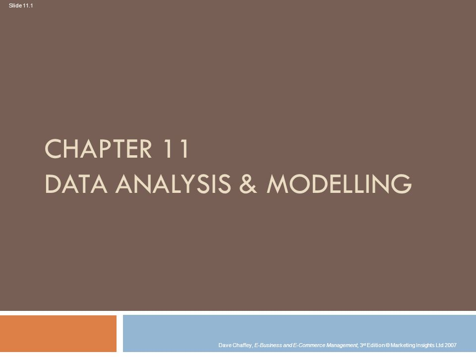 Chapter 11 DATA Analysis & MODELLING