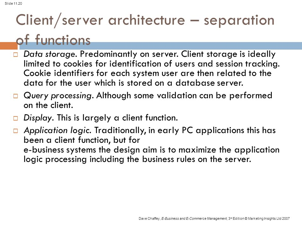 Client/server architecture – separation of functions