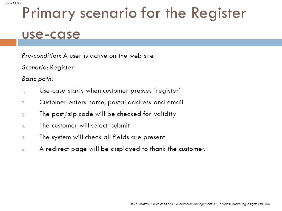 Primary scenario for the Register use-case