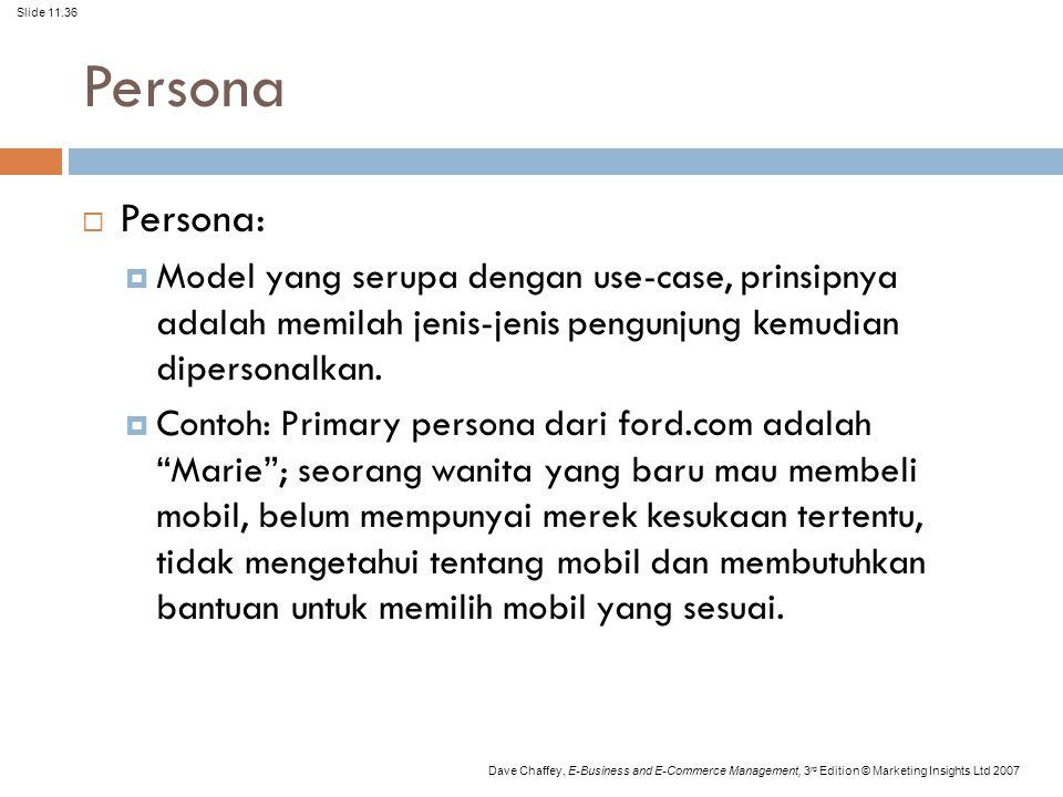 Persona Persona: Model yang serupa dengan use-case, prinsipnya adalah memilah jenis-jenis pengunjung kemudian dipersonalkan.