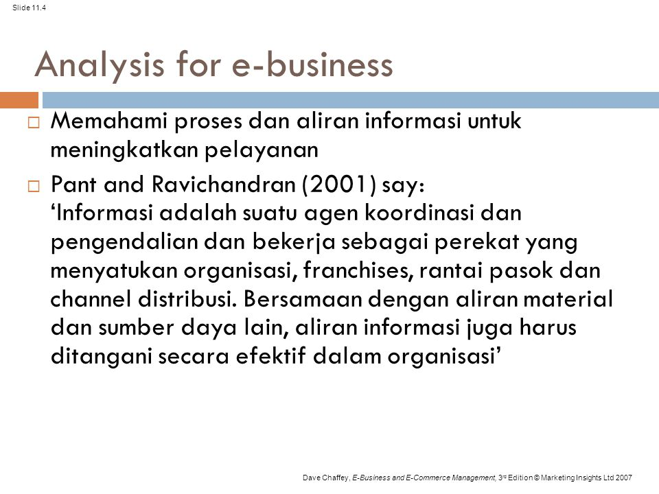 Analysis for e-business