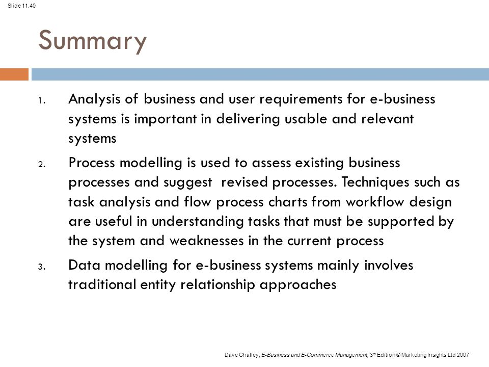 Summary Analysis of business and user requirements for e-business systems is important in delivering usable and relevant systems.