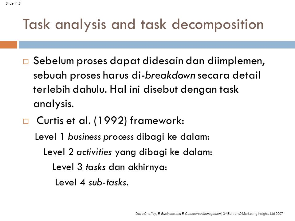 Task analysis and task decomposition