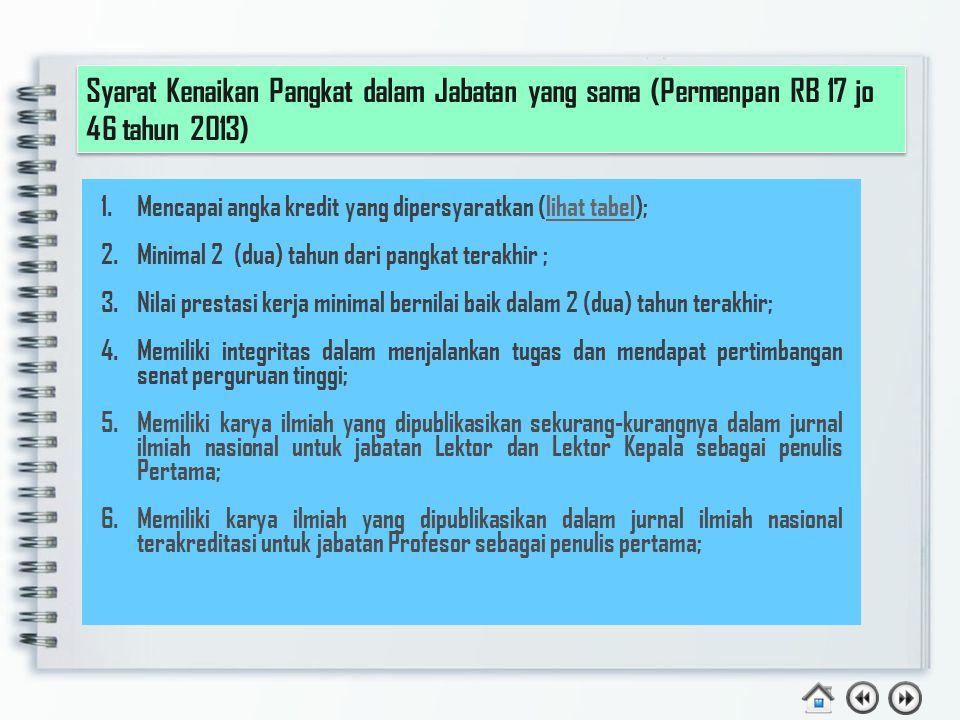 Syarat Kenaikan Pangkat dalam Jabatan yang sama (Permenpan RB 17 jo 46 tahun 2013)