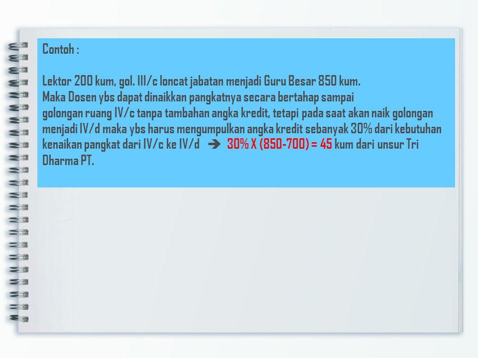 Contoh : Lektor 200 kum, gol. III/c loncat jabatan menjadi Guru Besar 850 kum.