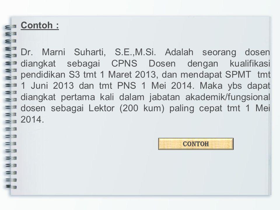 Contoh : Dr. Marni Suharti, S. E. ,M. Si