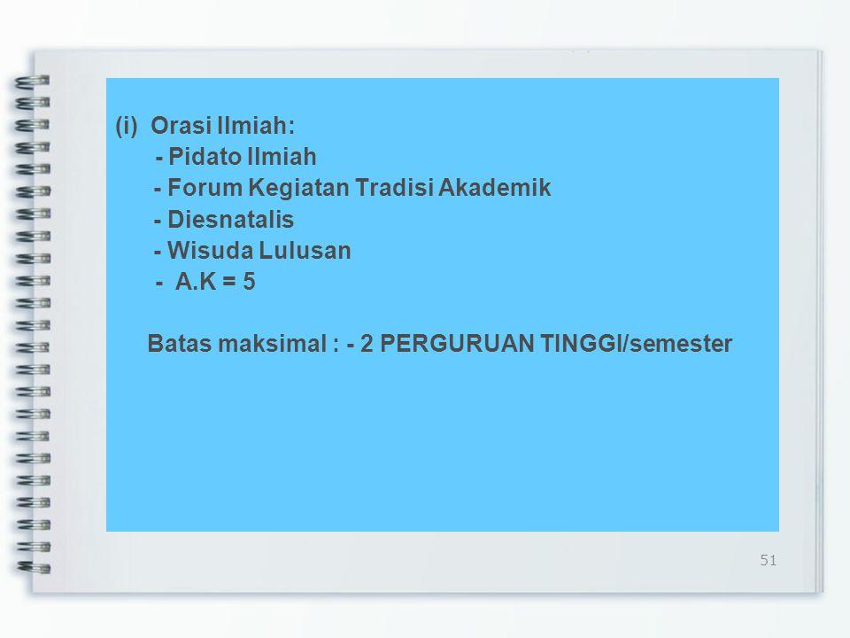 (i) Orasi Ilmiah: - Pidato Ilmiah - Forum Kegiatan Tradisi Akademik - Diesnatalis - Wisuda Lulusan - A.K = 5 Batas maksimal : - 2 PERGURUAN TINGGI/semester