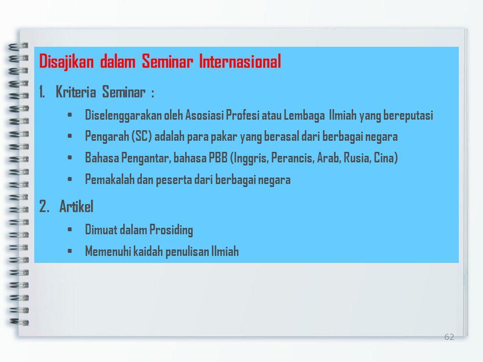 Disajikan dalam Seminar Internasional