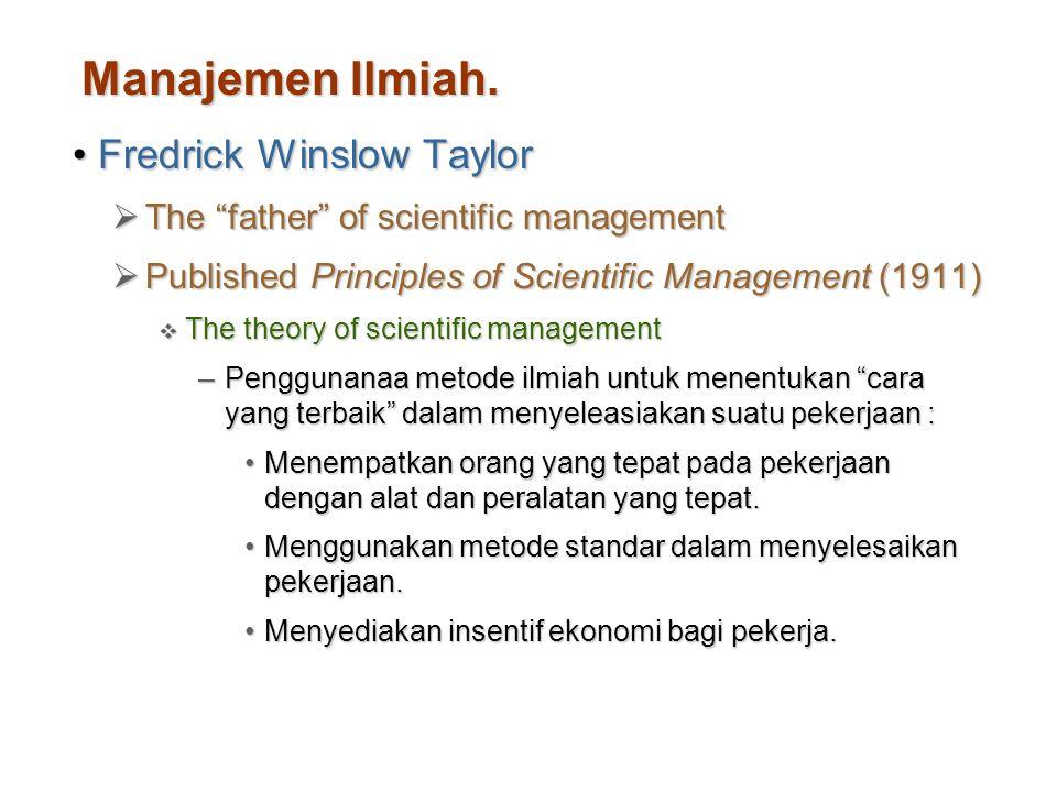 Manajemen Ilmiah. Fredrick Winslow Taylor