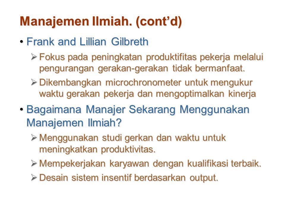 Manajemen Ilmiah. (cont'd)
