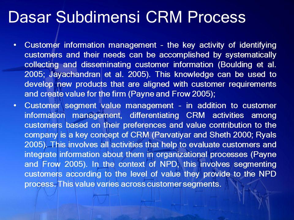 Dasar Subdimensi CRM Process