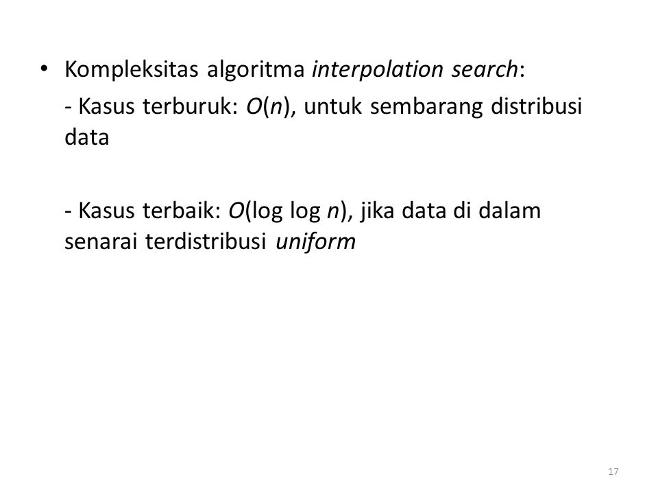 Kompleksitas algoritma interpolation search:
