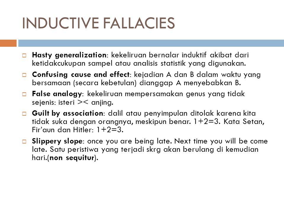 INDUCTIVE FALLACIES Hasty generalization: kekeliruan bernalar induktif akibat dari ketidakcukupan sampel atau analisis statistik yang digunakan.