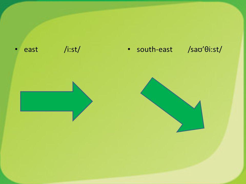 east /i:st/ south-east /saʊ'θi:st/