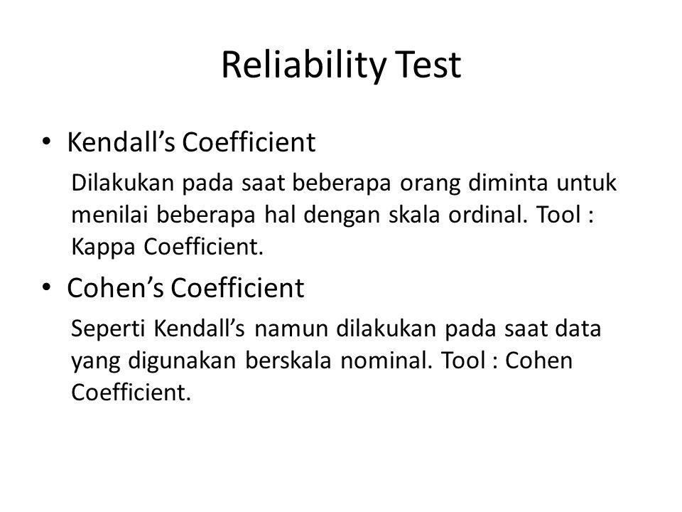 Reliability Test Kendall's Coefficient Cohen's Coefficient