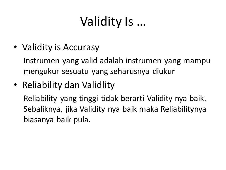Validity Is … Validity is Accurasy Reliability dan Validlity