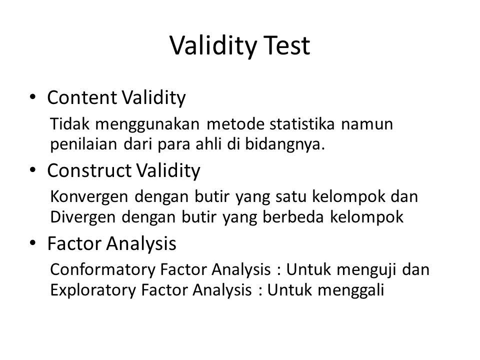 Validity Test Content Validity Construct Validity Factor Analysis