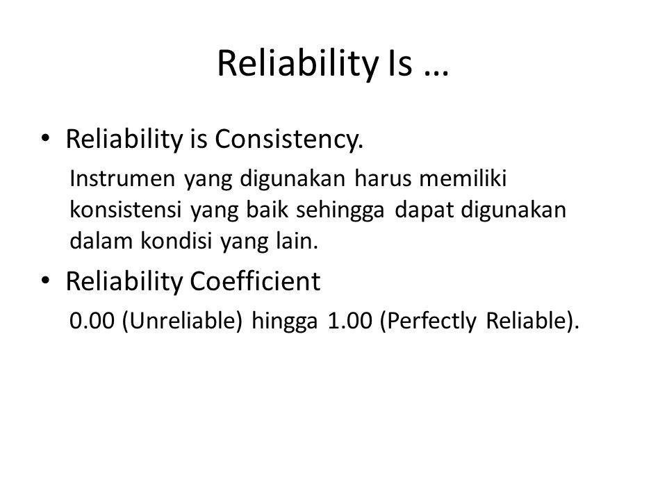 Reliability Is … Reliability is Consistency. Reliability Coefficient